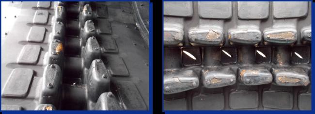 コンバイン・トラクター用ゴムクローラーには【芯金の幅寸法が、標準のスタンダードと、広いワイドがあります】