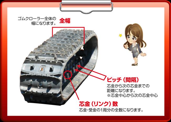 除雪機械用ゴムクローラーのサイズ確認方法