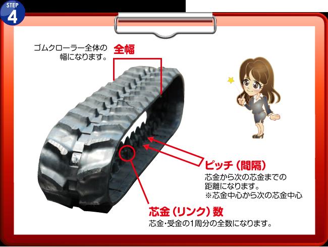 これで、幅(1)×リンク数(2)×ピッチ(3)の実測が完了し現在、装着しているゴムクローラーの実寸法が、分かります!